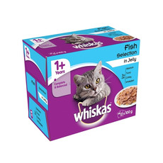 Whiskas Adult 1+ Cat Pouches Fish Selection In Jelly 12 X 100g