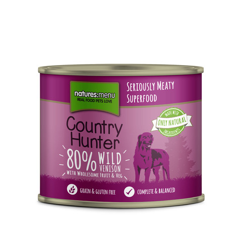 Natures Menu Country Hunter Wild Venison Grain Free Dog Food Cans 6 X 600g