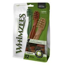 Whimzees Toothbrush 114mm Medium Dental Dog Chew Treat Pack 12 Pack