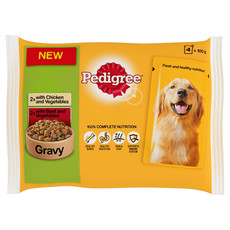 Pedigree Adult Dog Pouch Chicken And Vegetables & Beef And Vegetables In Gravy 4 X 100g