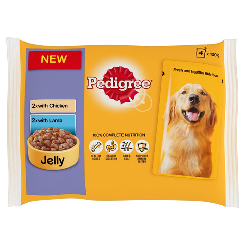Pedigree Adult Dog Pouch Chicken And Vegetables & Lamb And Vegetables In Jelly 4 X 100g