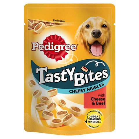 Pedigree Tasty Bites Cheesy Nibbles With Cheese & Beef Dog Treats 140g