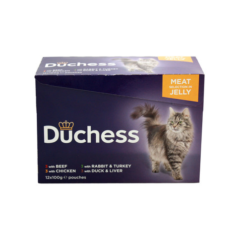 Duchess Adult Cat Pouches Meat In Jelly 12 X 100g