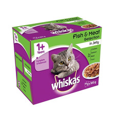 Whiskas Adult 1+ Cat Pouches Fish & Meat Selection In Jelly 4 X 12 X 100g
