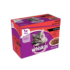 Whiskas Adult 1+ Cat Pouches Meat Selection In Gravy 12 X 100g