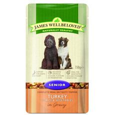 James Wellbeloved Senior Dog Pouch With Turkey, Rice And Vegetables In Gravy 10 X 150g