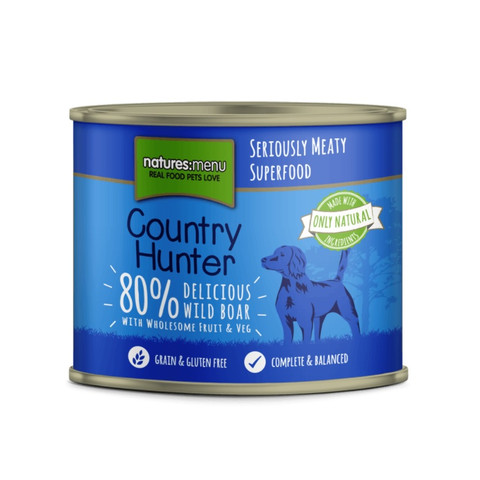Natures Menu Country Hunter Wild Boar Grain Free Dog Food Cans 6 X 600g