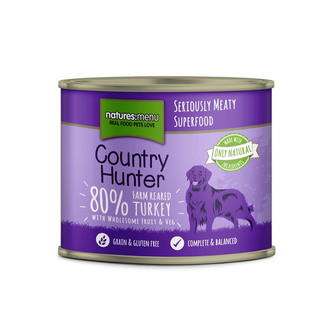 Natures Menu Country Hunter Farm Reared Turkey Grain Free Dog Food Cans 6 X 600g