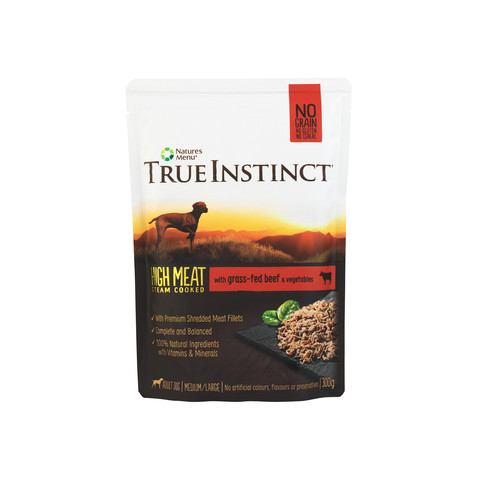Natures Menu True Instinct High Meat Fillet Beef Adult Dog Pouches 8 X 300g