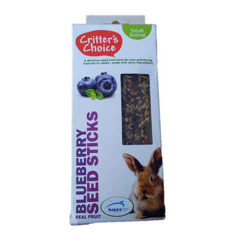Happy Pet Critters Choice Small Animal Blueberry Seed Sticks Treat 2 Pack