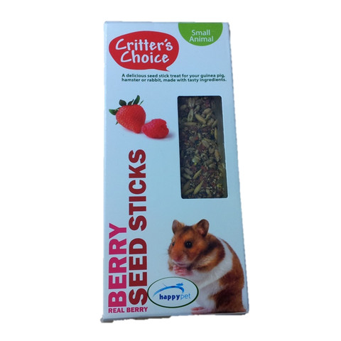 Happy Pet Critters Choice Small Animal Strawberry And Raspberry Seed Sticks Treat 2 Pack