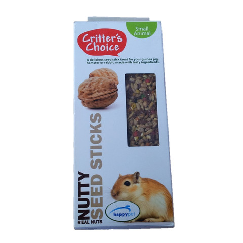Happy Pet Critters Choice Small Animal Nutty Seed Sticks Treat 2 Pack