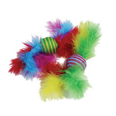 Happy Pet Carnival Rattler Feather Boa Ball Cat Toy