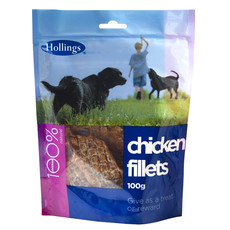 Hollings Real Meat 100% Natural Chicken Fillets Dog Treat 100g