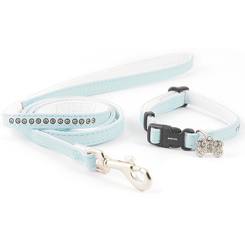 Ancol Small Bite Deluxe Jewel Light Blue Adjustable Collar And Lead Set