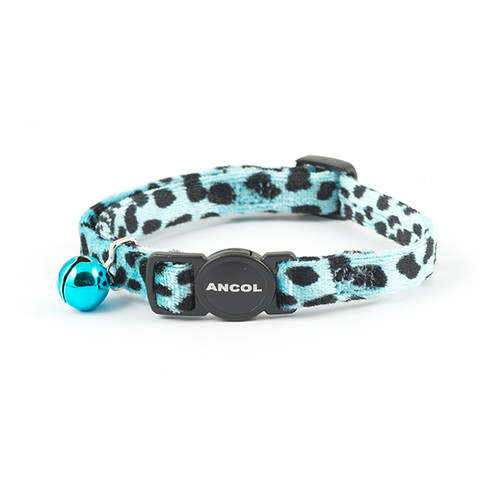 Ancol Velvet Turquoise Leopard Print Cat Collar