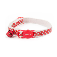 Ancol Reflective Gloss Red Hearts Cat Collar  Single