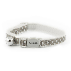 Ancol Reflective Gloss Silver Hearts Cat Collar Single