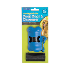 Ancol Biodegradable Dog Poo Bags & Dispenser 40 Bags
