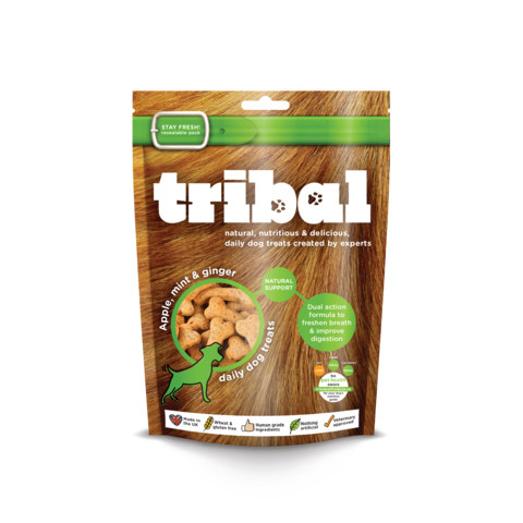 Tribal Dog Natural Support Apple, Mint & Ginger Biscuit Dog Treats 130g