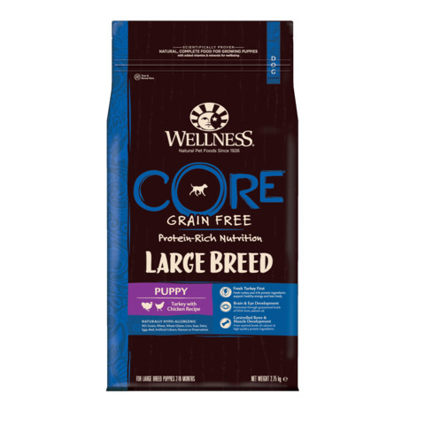 Wellness Core Large Breed Puppy Chicken And Turkey Grain Free Dry Dog Food 2.75kg