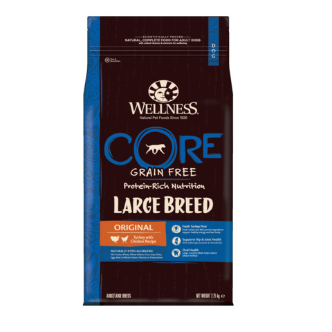 Wellness Core Large Breed Chicken And Turkey Grain Free Dry Adult Dog Food 2.75kg