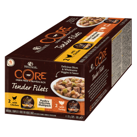 Wellness Core Tender Fillets Poultry Selection Multipack Wet Adult Grain Free Dog Food 4x170g