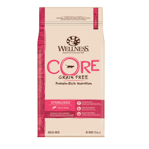 Wellness Core Sterilised Salmon Grain Free Dry Adult Cat Food 1.75kg