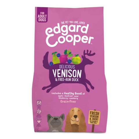 Edgard & Cooper Adult Grain Free Dry Dog Food With Fresh Venison & Free-run Duck 2.5kg