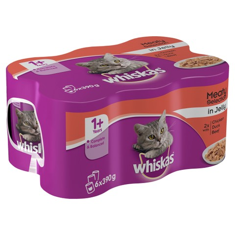 Whiskas 1+ Adult Cat Cans Meat Selection In Jelly 6 X 390g