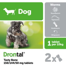 Drontal Dog Plus Flavour Bone Shaped Worming Tablet 1 Tab To 2 Tab