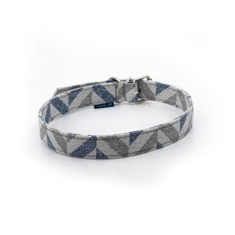 Delta Dog Collar Blue Chevron Small