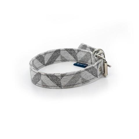 Project Blu Goa Dog Collar - Grey Chevron S