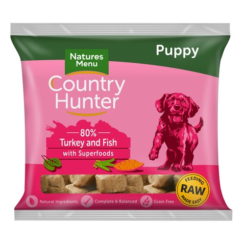Natures Menu Country Hunter Frozen Raw Turkey And Fish Puppy Food Nuggets 1kg