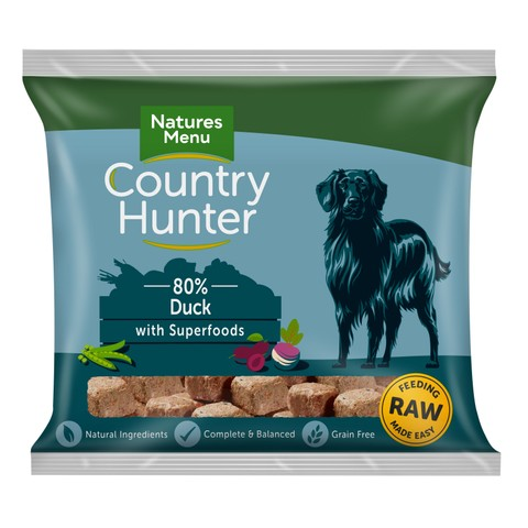 Natures Menu Country Hunter Frozen Raw Duck Dog Food Nuggets 1kg