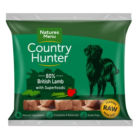 Natures Menu Country Hunter Frozen Raw British Lamb Dog Food Nuggets 1kg