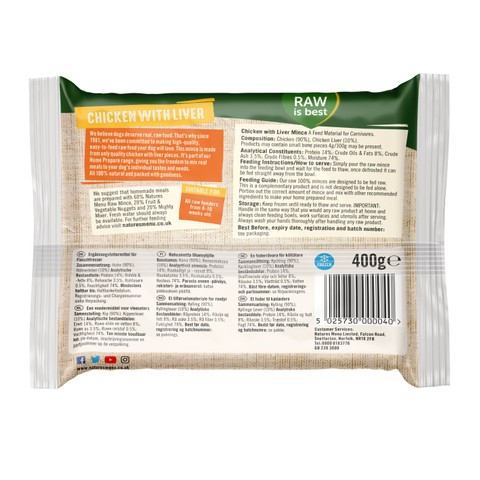 Natures Menu Minced Frozen Dog Food With Chicken And Liver 12 X 400g