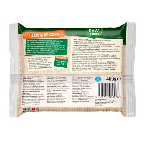 Natures Menu Minced Frozen Dog Food With Lamb And Chicken 12 X 400g