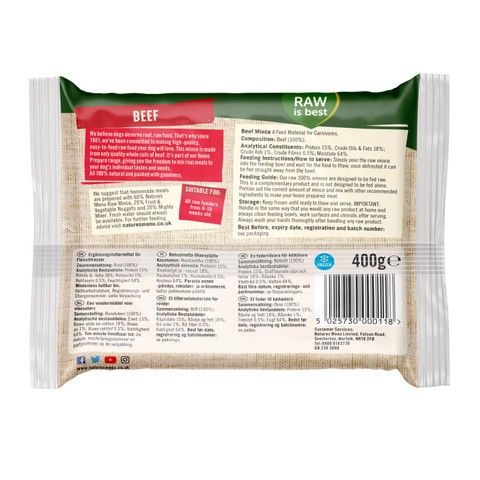 Natures Menu Minced Frozen Dog Food With Beef 400g