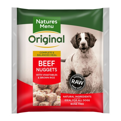 Natures Menu Frozen Dog Food Nuggets With Beef 1kg