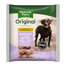 Natures Menu Frozen Dog Food Banquets Nuggets With Tripe, Heart, Liver And Salmon 1kg