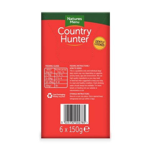 Natures Menu Country Hunter Superfood Grain Free Beef Dog Pouches 6 X 150g