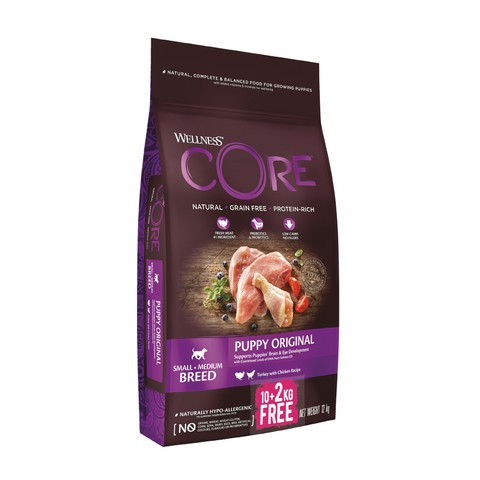 Wellness Core Puppy Chicken And Turkey Grain Free Dry Dog Food 10kg + 2kg Free