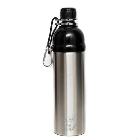 Long Paws Stainless Steel Lick 'n Flow Dog Water Bottle Silver 750ml