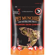 Pet Munchies Dog Treats - Medium Salmon Skin Chews 90g