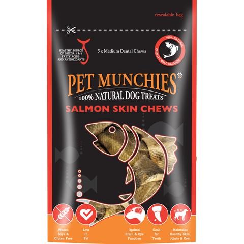 Pet Munchies Dog Treats - Medium Salmon Skin Chews 90g