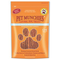 Pet Munchies Dog Treats - Wild Salmon & Sweet Potato Dental Sticks 90g