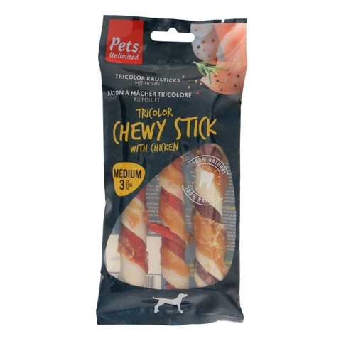 Pets Unlimited Tricolor Chewy Sticks With Chicken Medium 3 Pcs