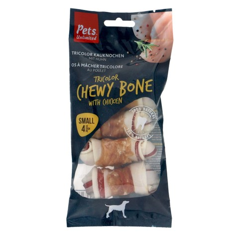 Pets Unlimited Tricolor Chewy Bone With Chicken Small 4 Pcs