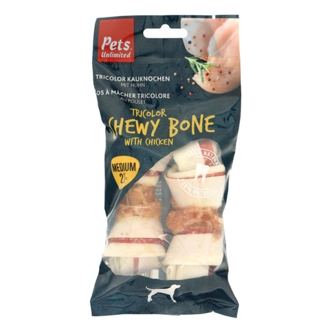 Pets Unlimited Tricolor Chewy Bone With Chicken Medium 2 St